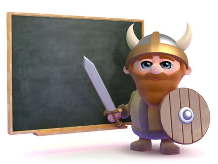 3d render of a viking stood next to a blackboard photo