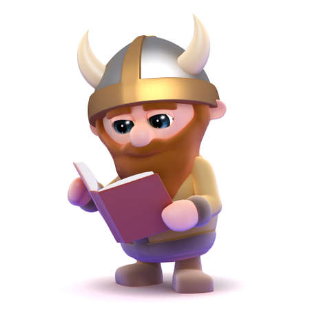 3d render of a viking reading a book photo