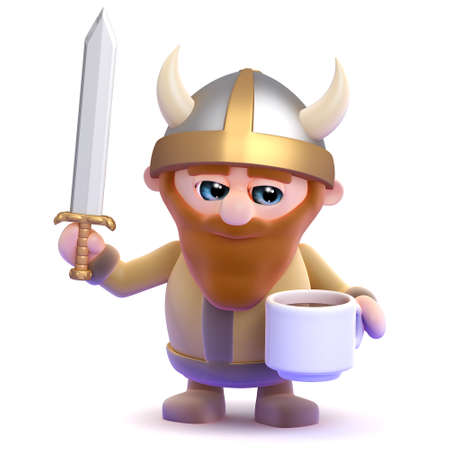 3d render of a viking drinking from a cup photo