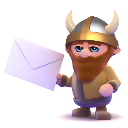 3d render of a viking holding an envelope photo