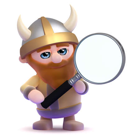 3d render of a viking holding a magnifying glass photo