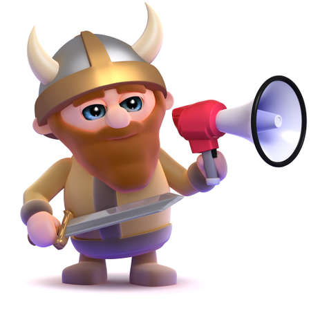 3d render of a viking using a megaphone photo