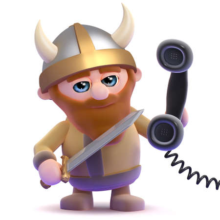 3d render of a viking holding a telephone handset photo