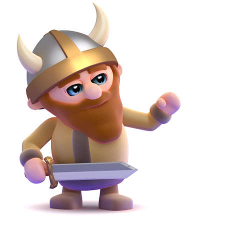 3d render of a viking gesturing to the right photo