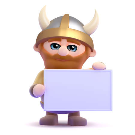 3d render of a viking holding up a blank banner photo