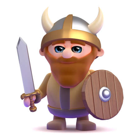 3d render of a noble viking photo