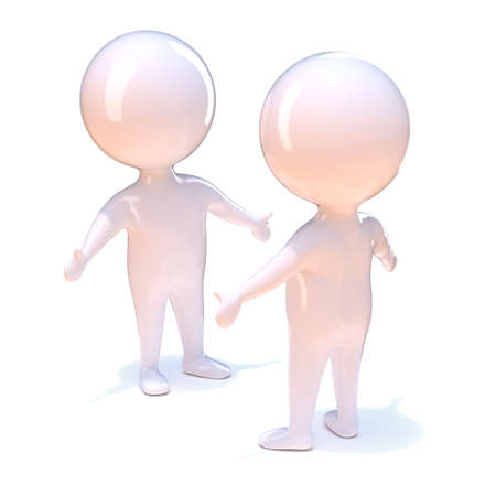 fondness: 3d render of two little people meeting each other