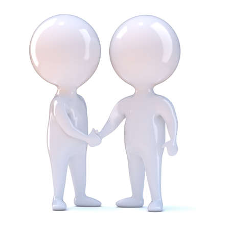 reconciliation: 3d render of two little people shaking hands