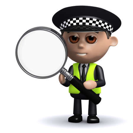 clues: 3d render of a police officer holding a magnifying glass