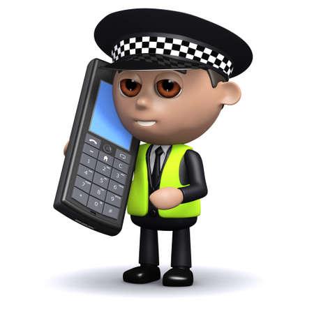 3d render of a police officer talking on a mobile phone photo