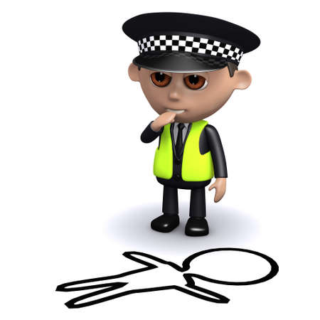 3d render of a police officer looking at the outline of a victim of crime photo