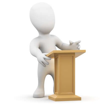 lectern: 3d render of little person stood at a lectern