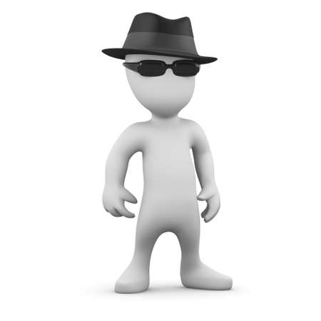stranger: 3d render of a little person wearing a trilby and sunglasses