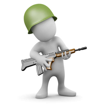 3d render of a little person dressed as a soldier carrying a rifle photo