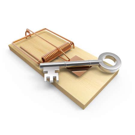 mousetrap: 3d render of a mousetrap with a key as bait