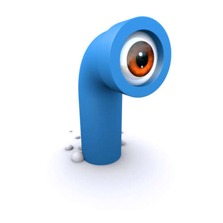 snooping: 3d render of a cartoon style periscope with eye
