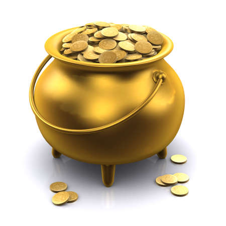 bullion: 3d render of a gold cauldron full of gold coins