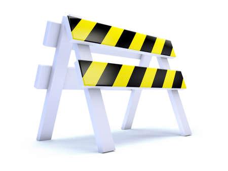 roadworks: 3d render of a yellow striped roadworks barrier