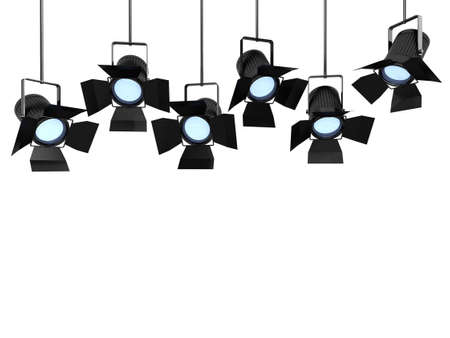 3d render of studio lights hanging from ceiling