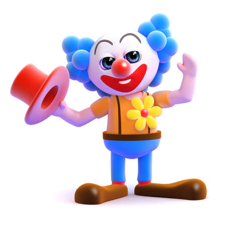 idiot: 3d render of a clown taking his hat off Stock Photo