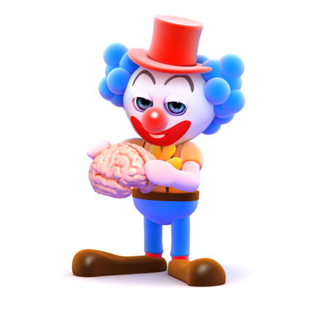 idiot: 3d render of a clown holding a brain Stock Photo