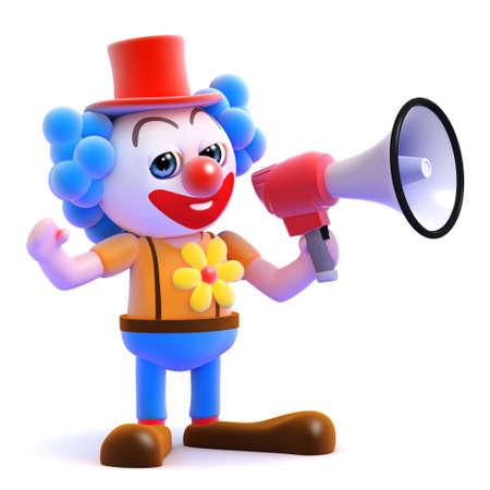 amplified: 3d render of a clown speaking through a megaphone