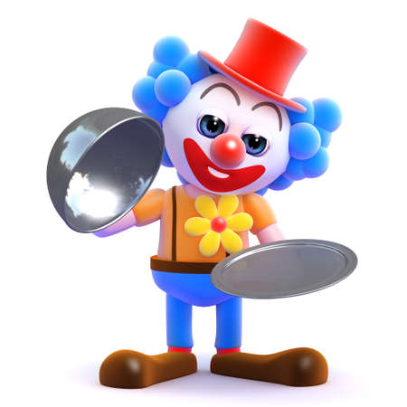 silver service: 3d render of a clown with a silver service platter