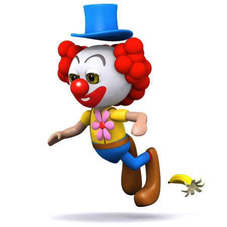 3d render of a clown slipping on a banana skin photo