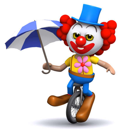 unicycle: 3d render of a clown on a unicycle holding an umbrella