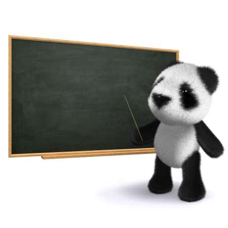 cartoon panda: 3d render of a panda stood next to a blackboard