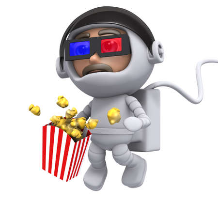 freefall: 3d render of a spaceman eating popcorn and watching a 3d movie Stock Photo