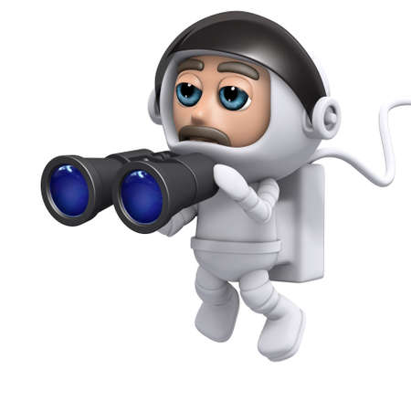 freefall: 3d render of a spaceman holding a pair of binoculars Stock Photo