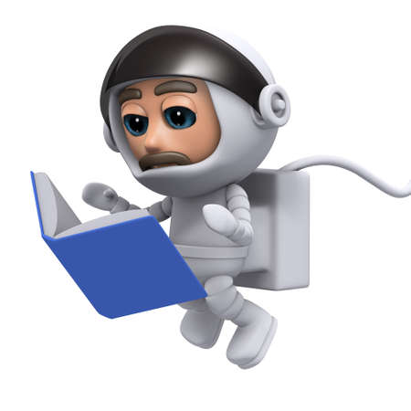 freefall: 3d render of a spaceman reading a book
