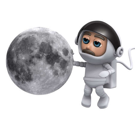 freefall: 3d render of a spaceman looking at the moon