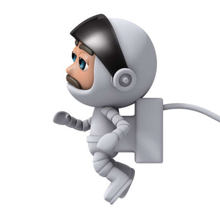 freefall: 3d render from the side of a spaceman