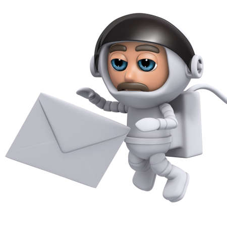 freefall: 3d render of a spaceman with an envelope