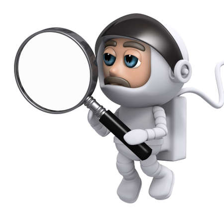 freefall: 3d render of a spaceman holding a magnifying glass Stock Photo