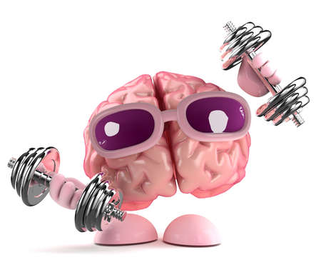 3d render of a brain working out photo