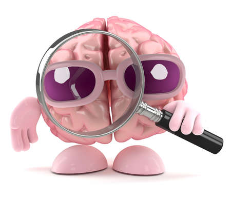3d render of a brain holding a magnifying glass photo
