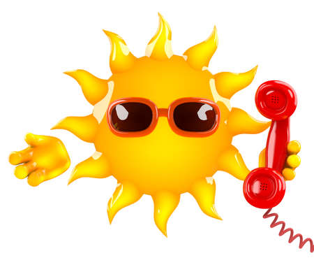 3d render of the sun holding a telephone receiver photo