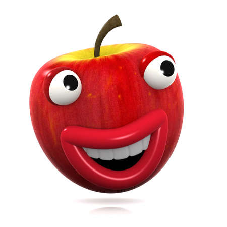 home grown: 3d render of a red apple jumping and laughing