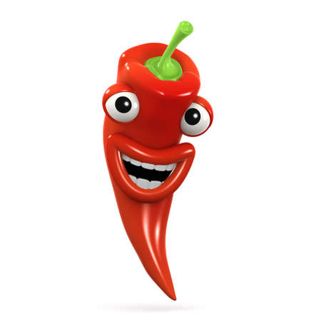 home grown: 3d render of a chilli pepper laughing