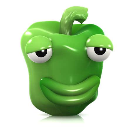 smug: 3d render of a green pepper looking smug Stock Photo