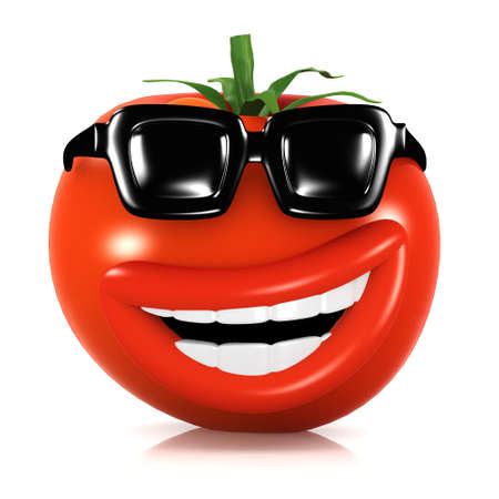 home grown: 3d render of a tomato wearing sunglasses Stock Photo