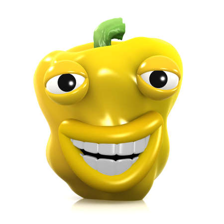broadly: 3d render of a yellow pepper smiling broadly Stock Photo
