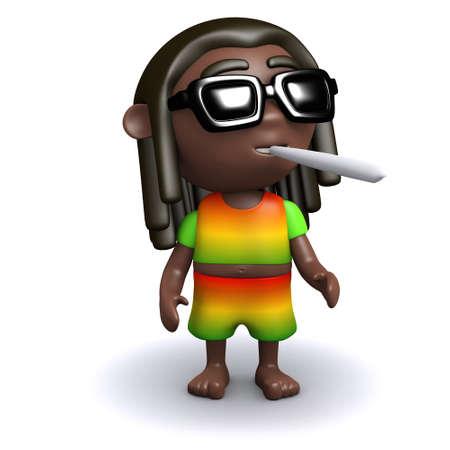 rastafarian: 3d render of a rastafarian smoking Stock Photo