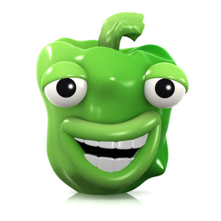 home grown: 3d render of a green pepper laughing uncontrollably