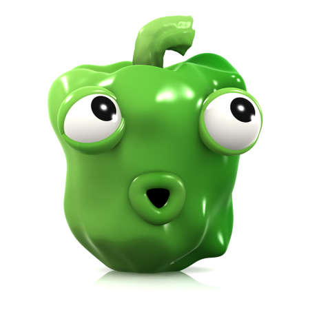 home grown: 3d render of a surprised green pepper Stock Photo
