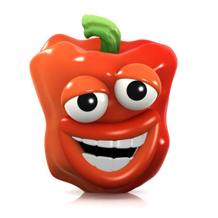 home grown: 3d render of a red pepper looking stupid Stock Photo