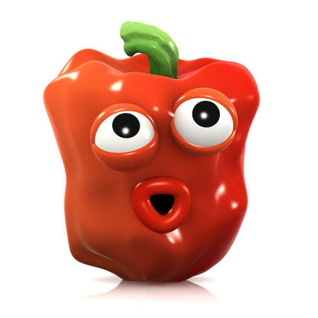 unawares: 3d render of a red pepper caught unawares Stock Photo